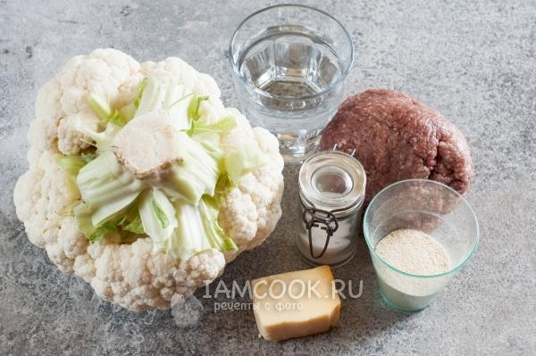 Ингредиенты для цветной капусты с фаршем, запеченной в духовке