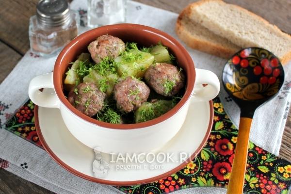 Рецепт тушеной картошки с фрикадельками