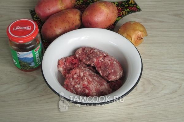 Ингредиенты для тушеной картошки с фрикадельками