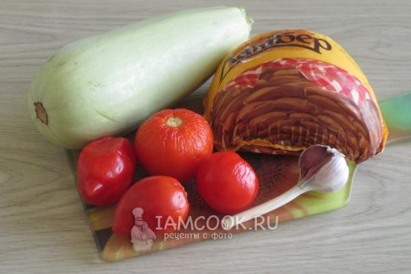 Ингредиенты для кабачков с помидорами и чесноком в духовке