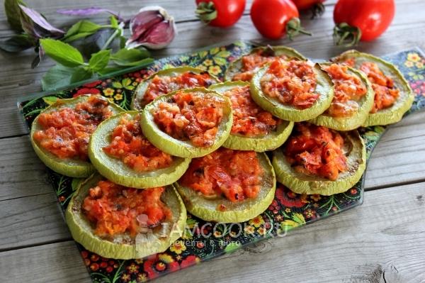 Рецепт кабачков с помидорами и чесноком в духовке