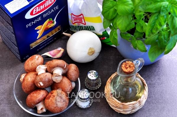 Ингредиенты для макарон с грибами в сметанном соусе
