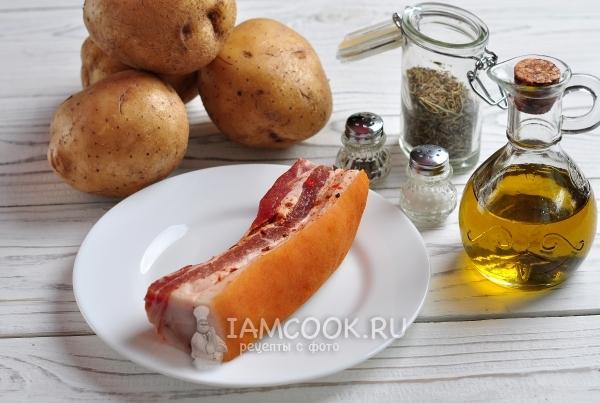 Ингредиенты для картошки-гармошки, запеченной с беконом и ароматными травами