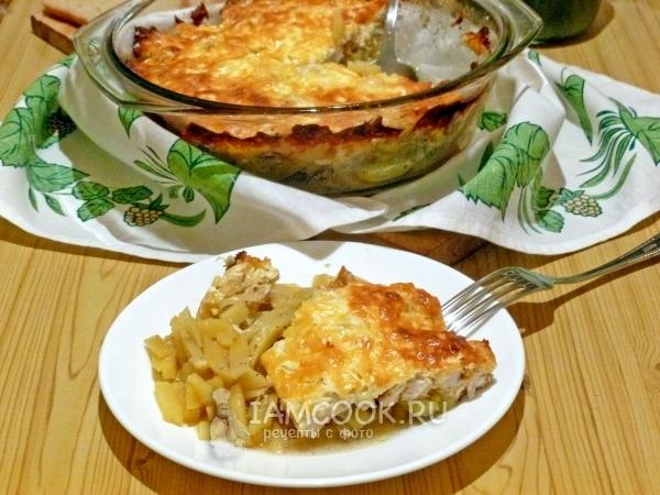 Рецепт картошки с курицей и сыром в духовке