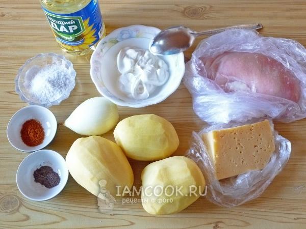 Ингредиенты для картошки с курицей и сыром в духовке