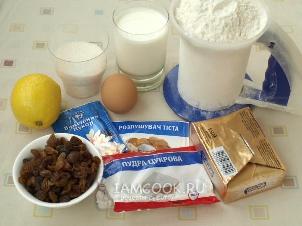 Ингредиенты для кекса на молоке