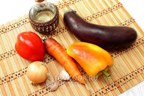 Ингредиенты для салата «Десятка» из баклажанов на зиму