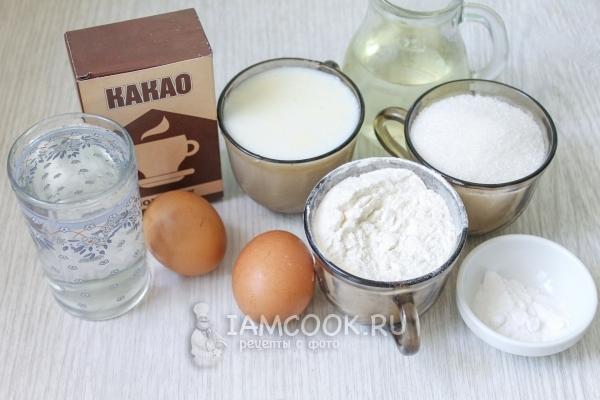 Ингредиенты для бисквитного шоколадного торта с вишней и сметанным кремом