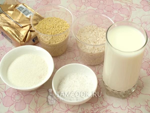 Ингредиенты для рисово-пшенной каши на молоке