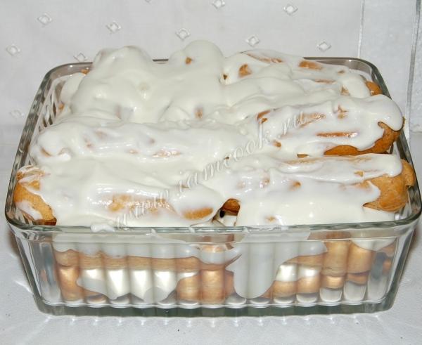 Вкусный торт дамские пальчики из заварного теста