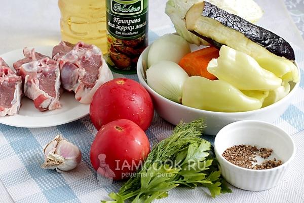 Ингредиенты для дымлямы по-узбекски в казане