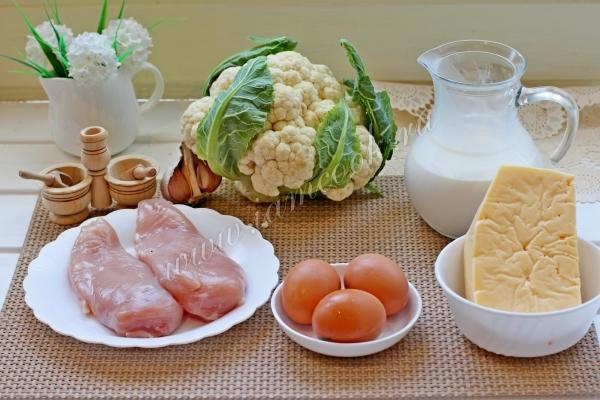 Ингредиенты для запеканки из цветной капусты с курицей
