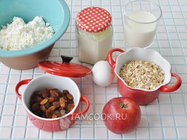 Ингредиенты для геркулесовой запеканки с изюмом, яблоками и творогом