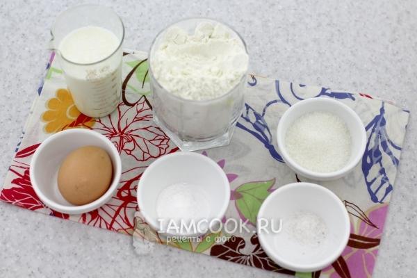 Ингредиенты для пышек на кислом молоке