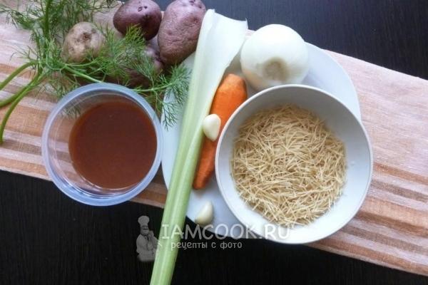 Ингредиенты для мясного супа с жареной лапшой-паутинкой