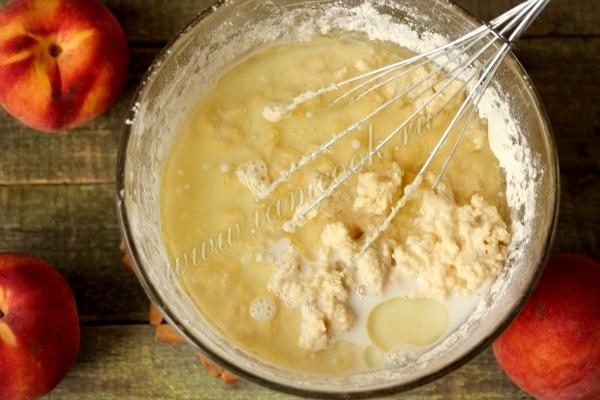 Тесто для пирога с персиками