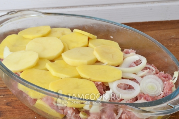 Выложить слой лука и картофеля
