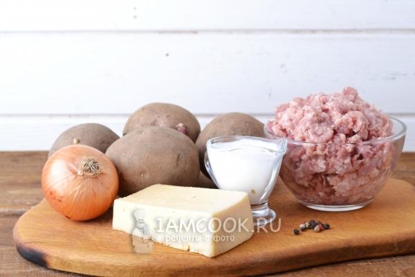 Ингредиенты для картошки с фаршем в духовке