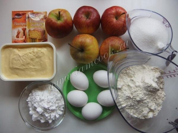 Ингредиенты для немецкого яблочного пирога