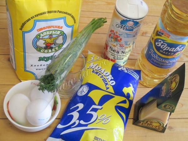 Ингредиенты для блинов с припеком