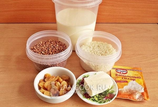 Ингредиенты для гречнево-рисовой каши на молоке