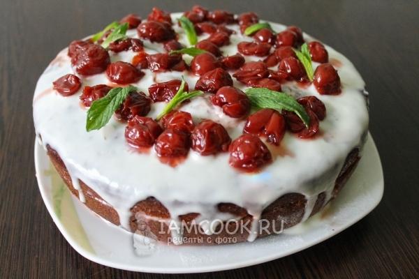 Рецепт торта с вишнями и сметанным кремом