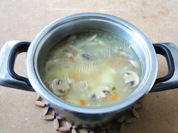 варим суп с индейкой и грибами