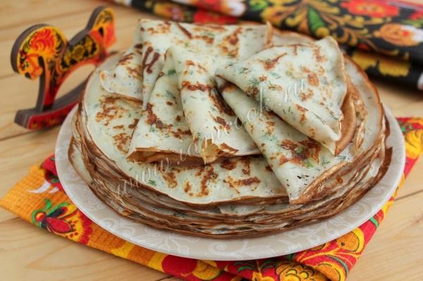 Рецепт блинов с припеком из сыра