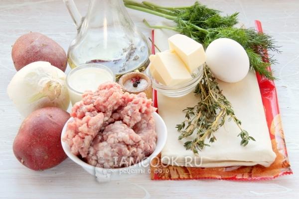 Ингредиенты для штруделя с мясом и картошкой