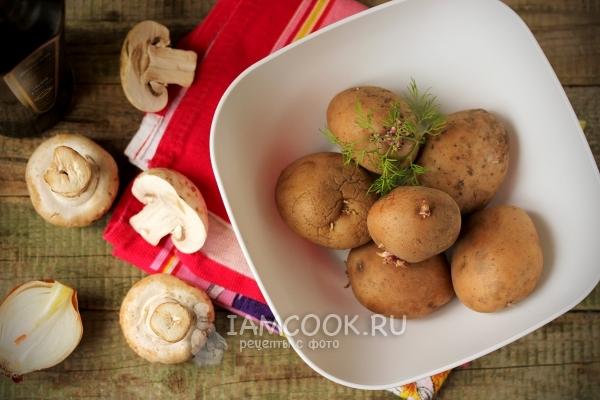 Картофель, грибы и лук