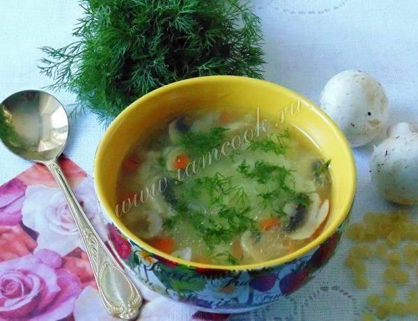 Рецепт грибного супа с индейкой и макаронами