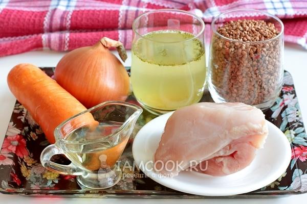 Ингредиенты для куриного филе (грудки) с гречкой в духовке