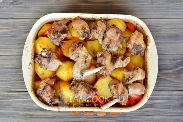 кусочки утки с картошкой в духовке пошаговый
