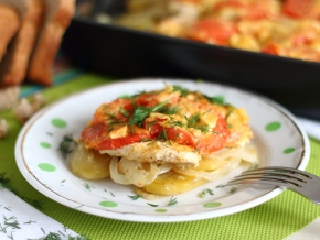 запеченный картофель с сыром и курицей в духовке