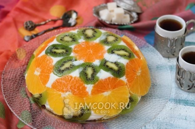 Готовый торт без выпечки с желатином и фруктами