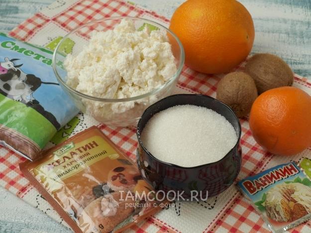 Ингредиенты для торта без выпечки с желатином и фруктами