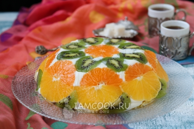 Рецепт торта без выпечки с желатином и фруктами