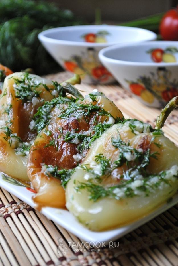 Рецепт жареного перца с чесноком