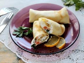 Блинчики с семгой и творожным сыром рецепт