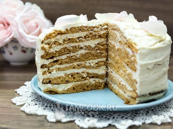 Торт «Молочная девочка» с творожным кремом — рецепт с фото пошагово