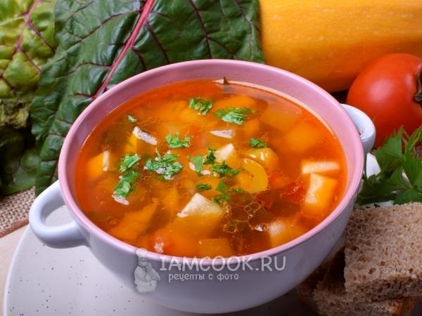 Суп из кабачков с помидорами и петрушкой рецепт
