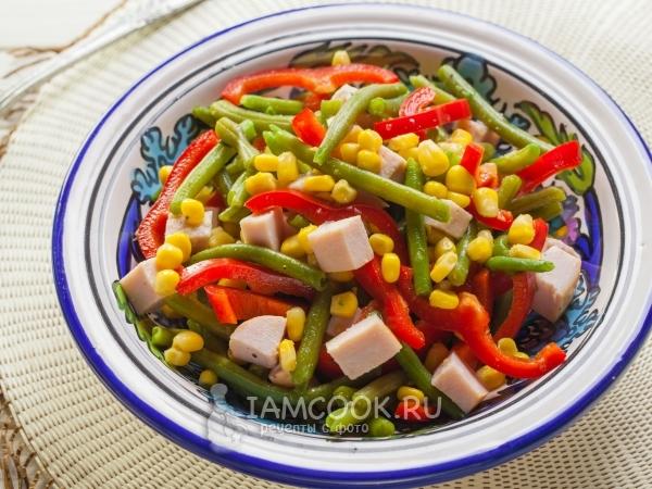 Салат со стручковой фасолью и ветчиной — рецепт с фото пошагово