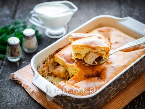Пирог из жидкого теста с мясом — рецепт с фото пошагово