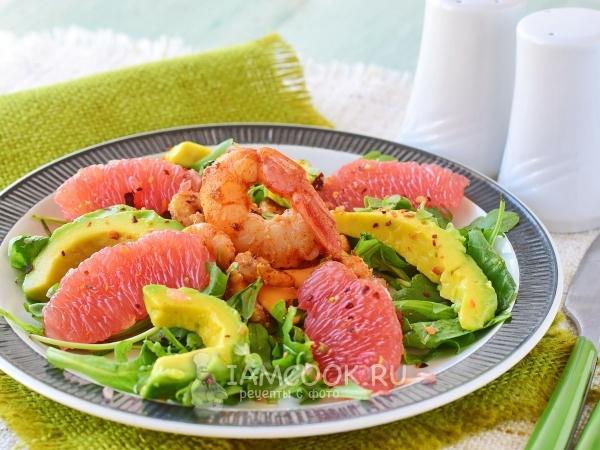 Салат с креветками, авокадо и грейпфрутом — рецепт с фото пошагово