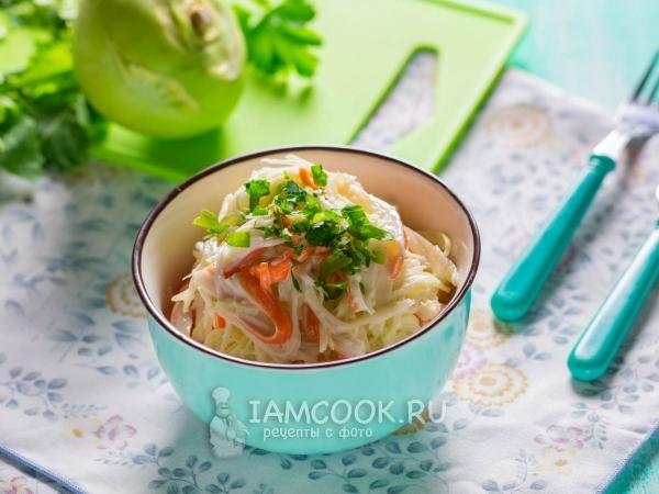 Салат из кольраби и крабовых палочек — рецепт с фото пошагово