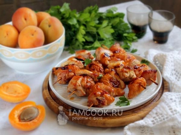 Шашлычки из курицы с абрикосами в духовке — рецепт с фото пошагово