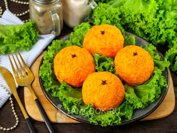 Салат в виде мандарина — рецепт с фото пошагово