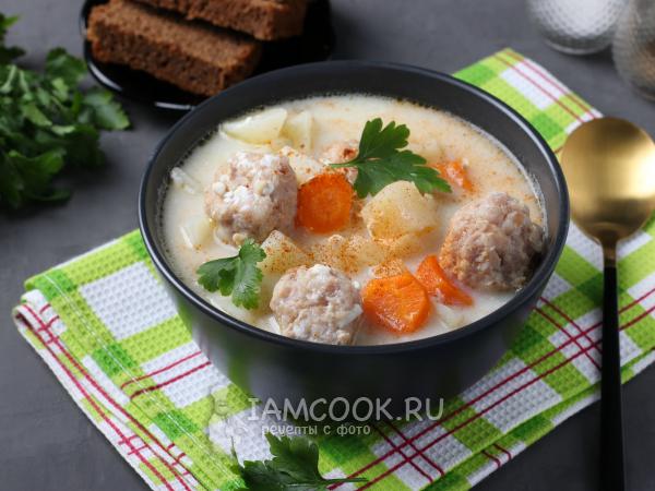 Сырный суп с куриными фрикадельками — рецепт с фото пошагово