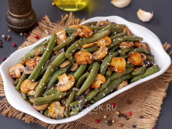 Жареная стручковая фасоль с грибами — рецепт с фото пошагово