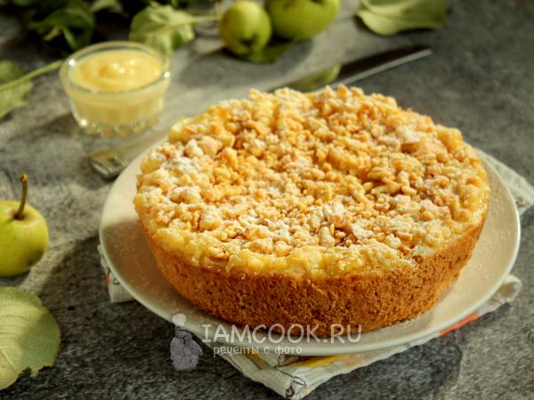 Тертый яблочный пирог с заварным кремом — рецепт с фото пошагово